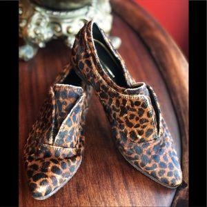 Rachel Zoe 7 calf pony hair leopard Oxford shoes